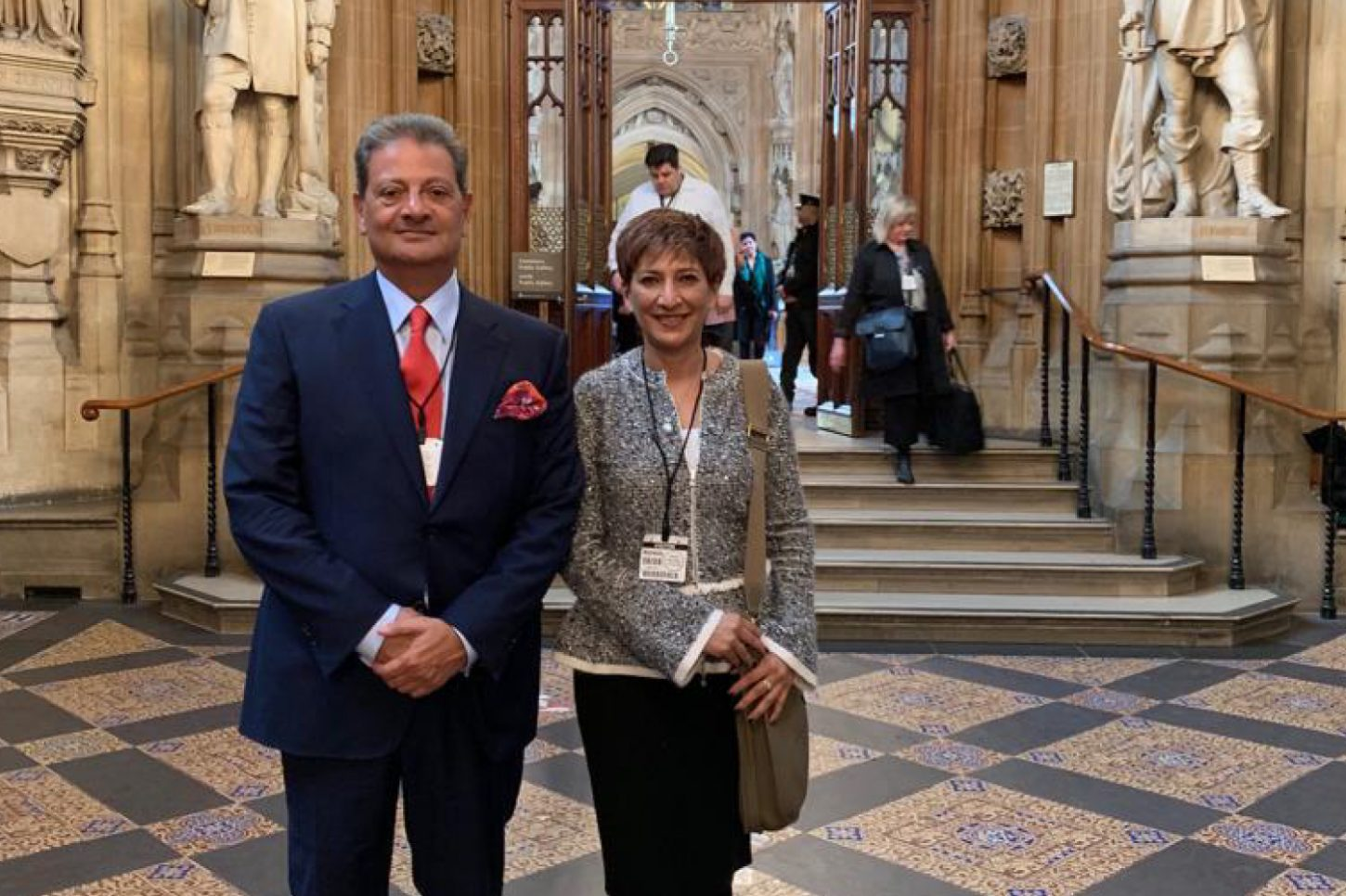 Laurence Sprey and Yachma Tak outside Parliment