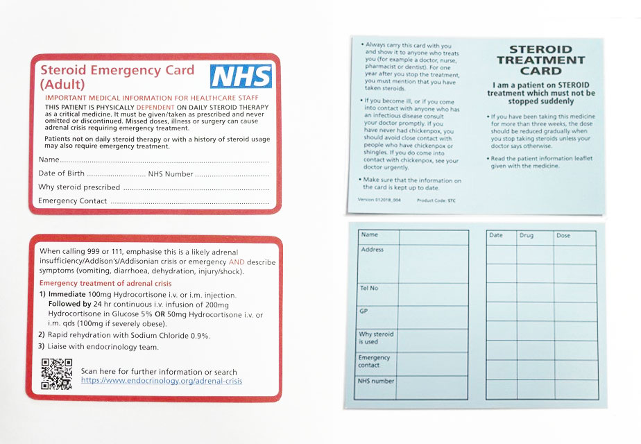 Emergency steroid card and normal card